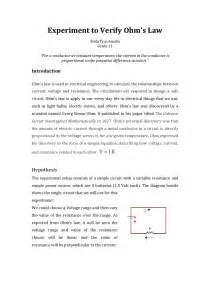 Lab Report Introduction Sample Experiment To Verify Ohm S Law