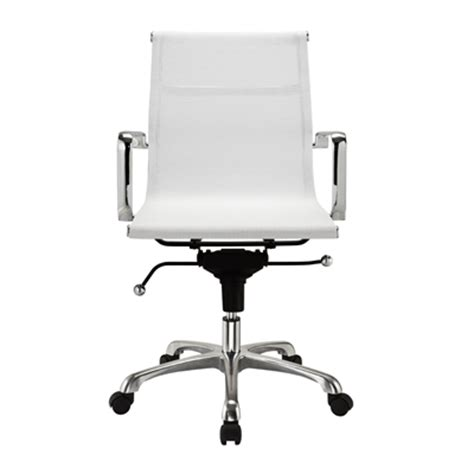 Modern Desk Chair White Modern Mesh Mid Back Office Chair In White