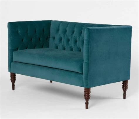 teal settee turquoise blue loveseat teal tufted tuxedo modern sofa