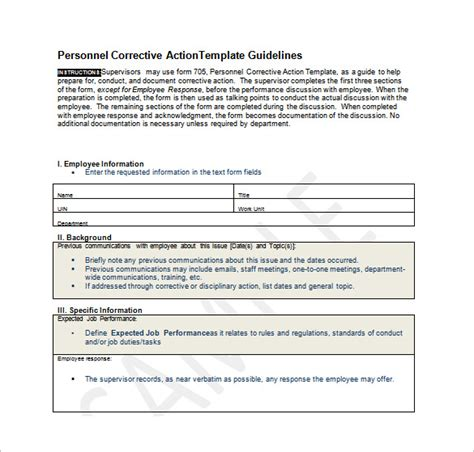 employee action plan template 12 free sle exle
