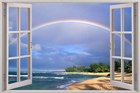 window with a view huge 3d window view rainbow over beach wall sticker film
