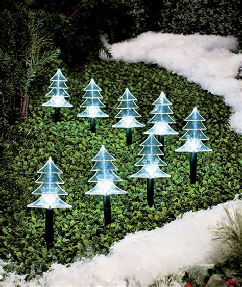 set of 8 solar lighted trees outdoor christmas decor