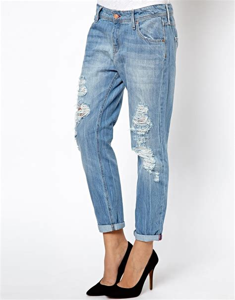 light wash blue ripped jeans lyst asos mango light wash ripped jeans in blue