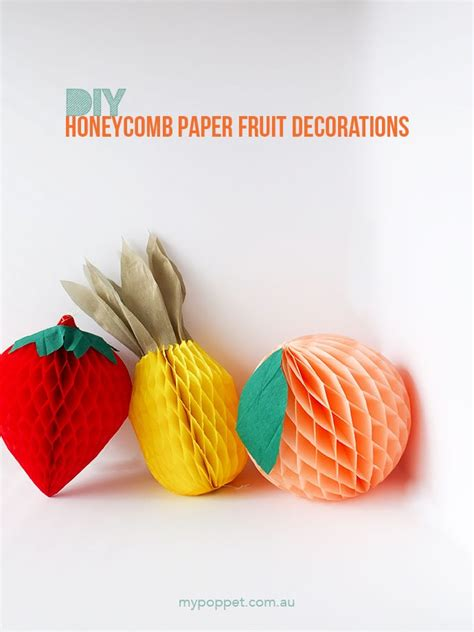 diy honeycomb paper fruit party decorations  poppet