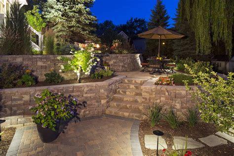 two level backyard minnesota backyard paver patios southview design