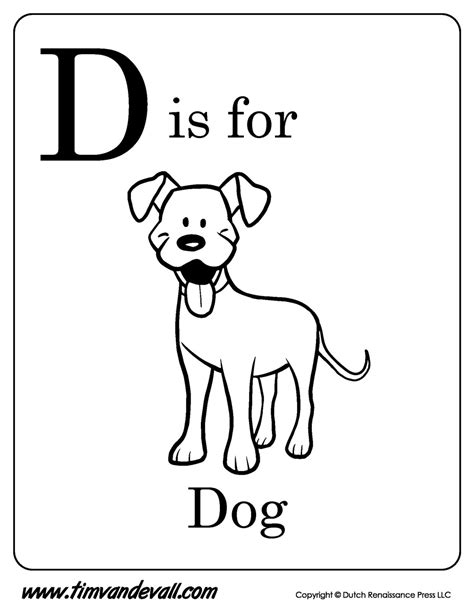 d coloring pages for kindergarten d is for dog printable tim s printables