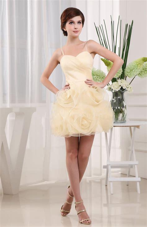Mini Dress Disnie daffodil disney princess a line sweetheart sleeveless organza mini bridesmaid dresses uwdress