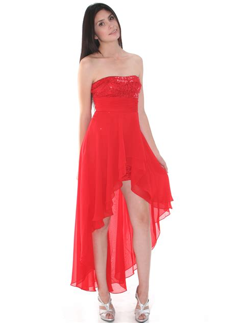 holiday cocktail dress strapless sequin high low cocktail dress sung boutique l a
