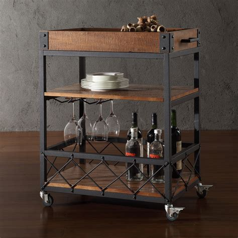 Kitchen Bar Cart tribecca home myra rustic mobile kitchen bar serving wine