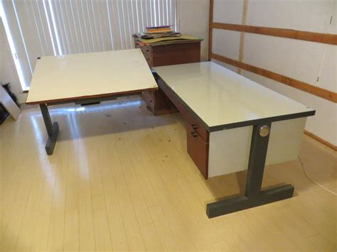 Two Piece Drafting Table With Desk L Shaped Saanich Drafting Table L