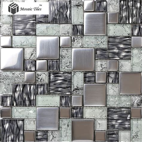 glass tile for kitchen backsplash tst crystal glass tile glossy mosaics silver inner crackle