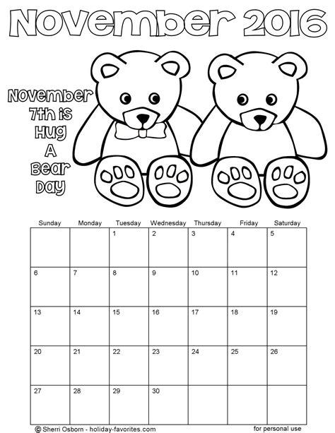 november calendar coloring pages printable november calendars holiday favorites