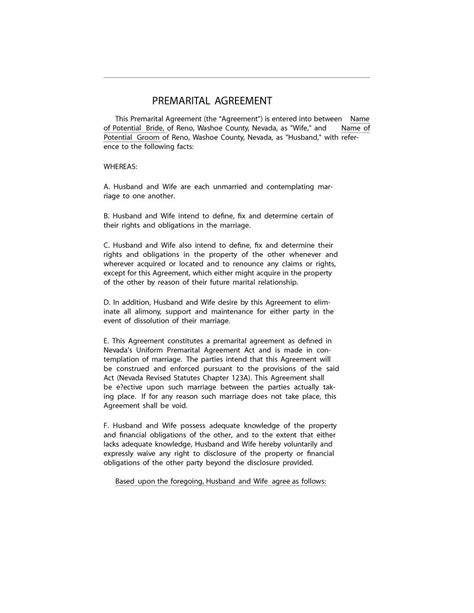 spousal support agreement template 30 prenuptial agreement sles forms template lab