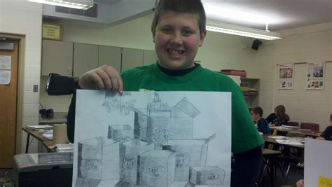 Drawing 6 Class by 6th Grade Drawing Students Finish Cube Drawings