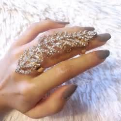 Solid Duvet Cover Gold Leaf Rhinestone Full Finger Ring Armor Knuckle Ring