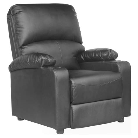 armchair drink holder kino real black leather recliner armchair w drink holders