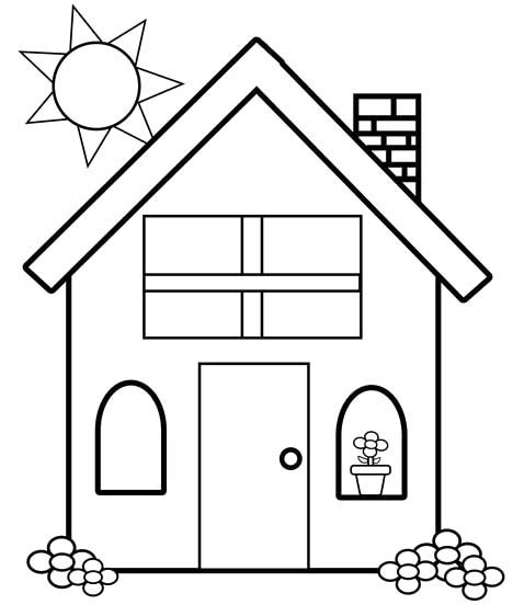 A House Coloring Page by Sweet Looking House Coloring Pages Printable Simple For