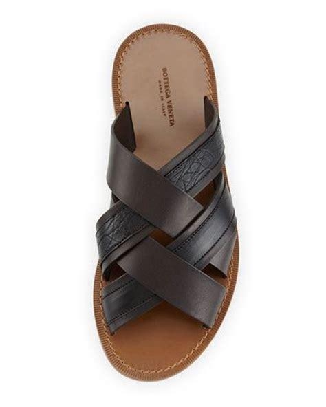 Sepatu Wedges Botega Veneta Am109 bottega veneta criss cross leather and crocodile slide sandals shoes leather