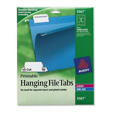 Avery Ave5567 Print Write On Hanging Tabs Hanging Folder Tab Template