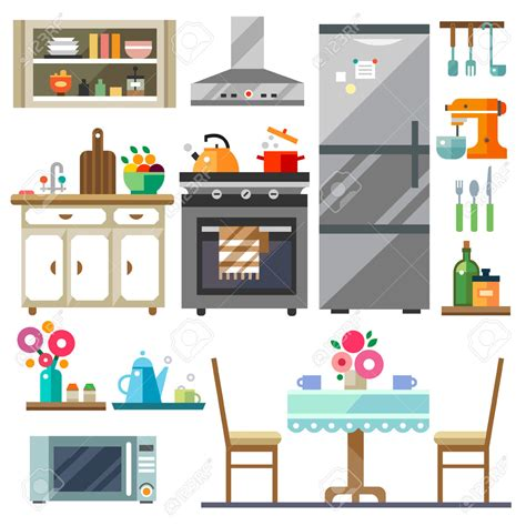 furniture clipart kitchen room pencil and in color