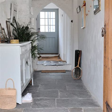 hallway with flagstone floor modern country cottage