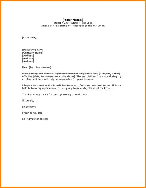 Resignation Letter After A Week On The search results for two weeks notice resignation letters