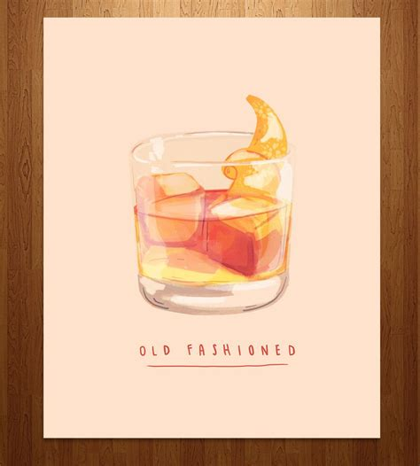 fashioned cocktail illustration fashioned cocktail print illustration