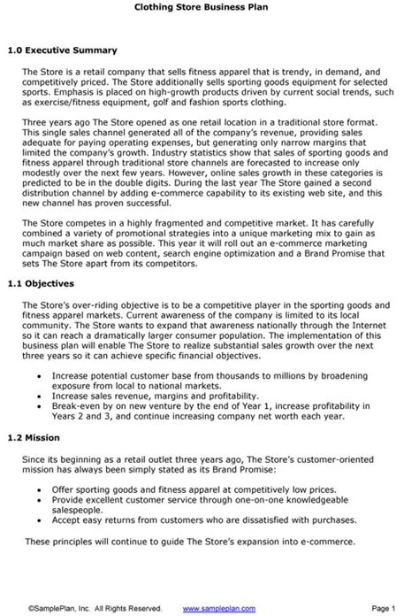 clothing retail business plan sle executive summary