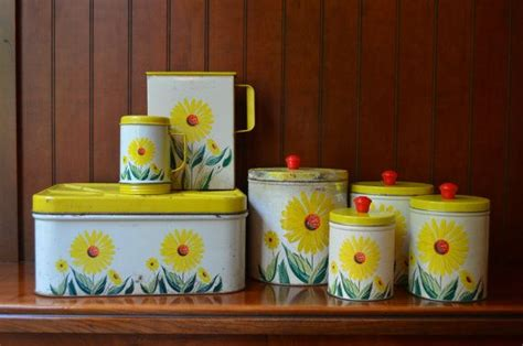 vintage canister set yellow sunflowers kitchen tins set of 4 7 best images about kitchen on pinterest depression art