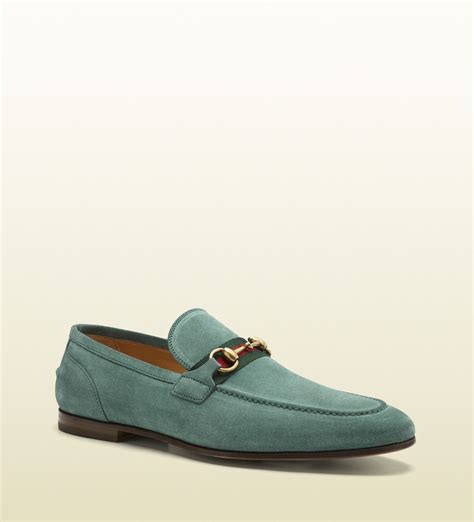 gucci horsebit suede loafers gucci suede horsebit loafer in blue for lyst