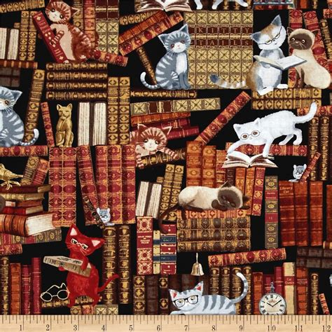 library pattern fabric timeless treasures cats in the library multi discount