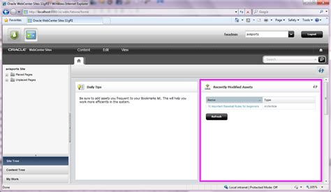 oracle networking tutorial oracle webcenter sites 11g customizing the dashboard