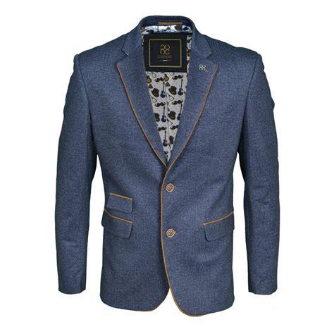 Blezer Denim cavani plain slim fit blazer brown suede ferro denim navy