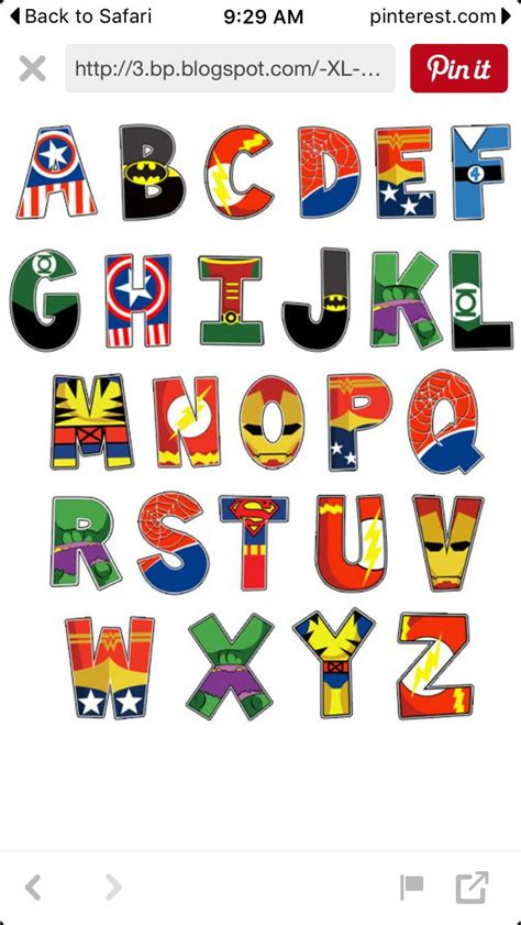 printable alphabet letters for decoration letras superheroes ideas para fiesta pinterest