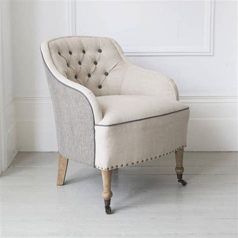 florence button back linen armchair by atkin and thyme