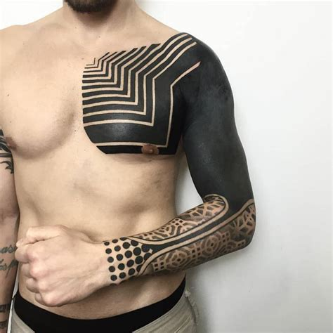 arm and chest blackwork tattoo best tattoo ideas gallery neotribal style piece on chest and arm