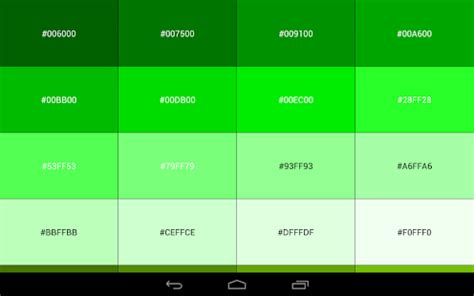 different names of green color code reference book android apps on google play