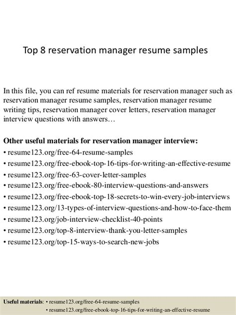 top 8 reservation manager resume sles