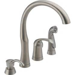 delta faucet kitchen shop delta stainless 1 handle high arc kitchen faucet with