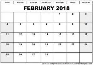 Calendar 2018 January And February February 2018 Calendar Template
