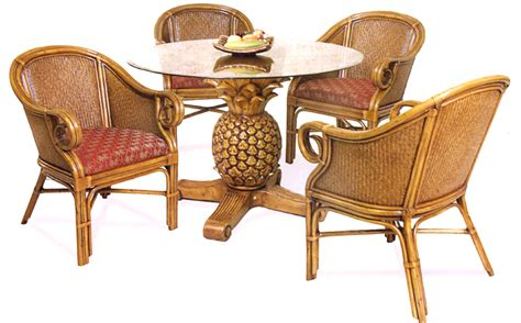 rattan kitchen furniture tropical dining chairs chair pads cushions