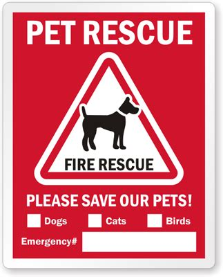 Aufkleber Feuerwehr Tiere by Rescue Label Save Pets Window Decal With