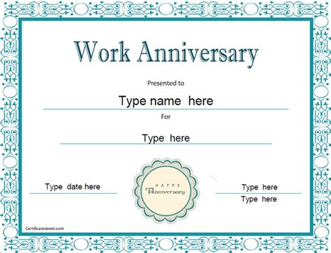 anniversary certificate template special certificates work anniversary
