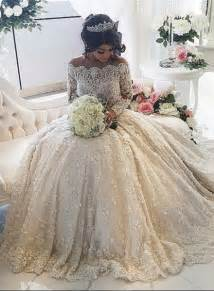 beautiful lace long sleeve princess wedding dresses 2017