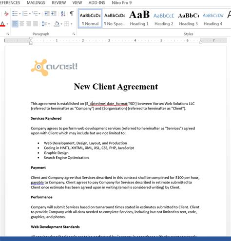Agreement Letter For Delivery Create Service Contracts From Batchbook Webmerge