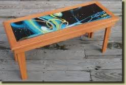 recycled ski and snowboard side and coffee tables