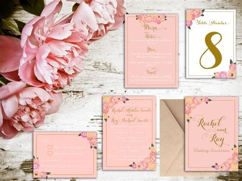 should save the dates match wedding invitations blush and gold floral wedding invitation matching save
