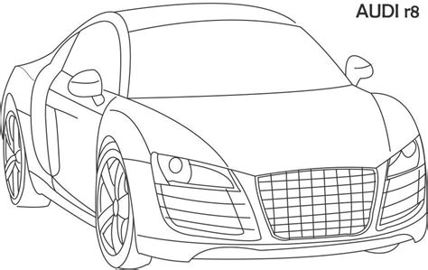 super car audi r8 coloring page for kids