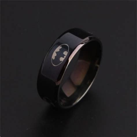 Cincin Black Polos Titanium Stainless Steel 316l black batman symbol titanium stainless steel rings for fanmerch store