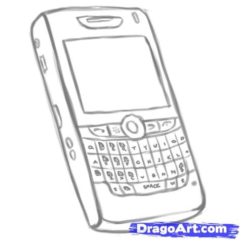 draw mobile how to draw a blackberry cellphone step by step stuff